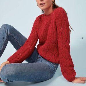 Reformation Jessie Pointelle Alpaca Red Sweater